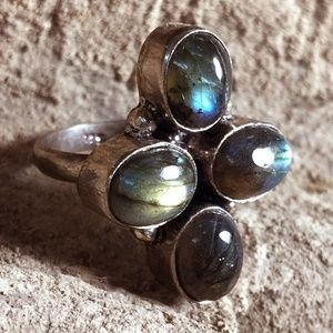 Blue Fire Labradorite Sterling Silver Ring 8.5 & 9